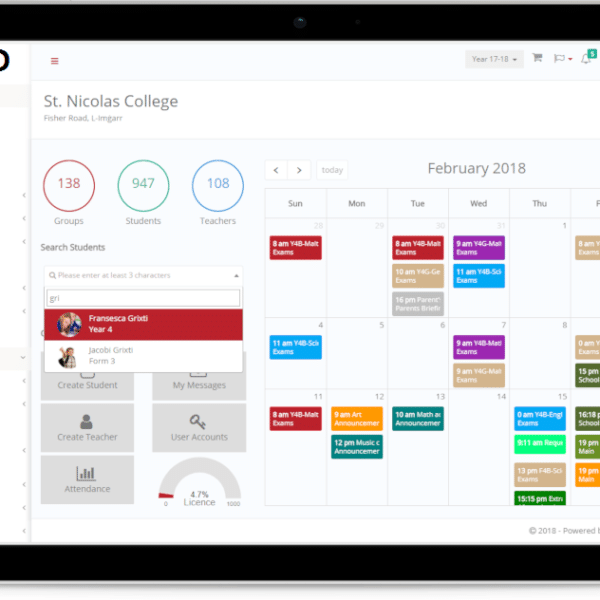 School Management Software interface